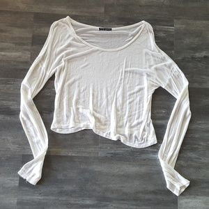 White Soft Melville Cropped Long Sleeve